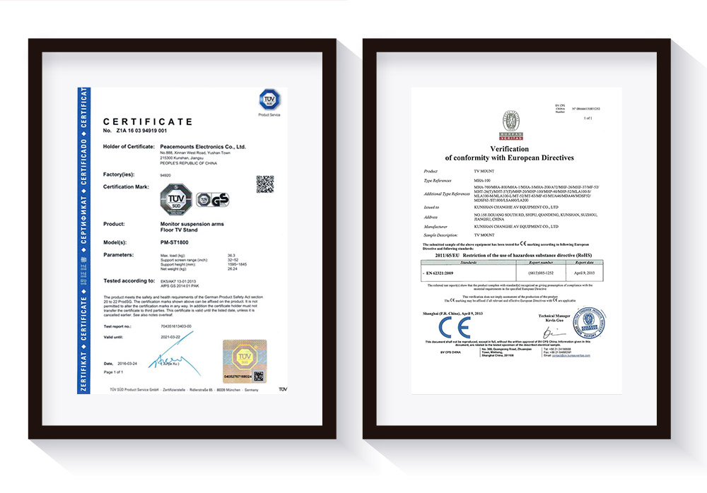 peacemounts tv mounts certificates